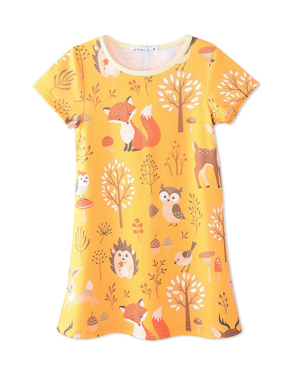 Sunshine Swing Girl's Kids Summer Round Neck Short Sleeve Fox Printed Cartoon Casual Tunic T-Shirt Dress 3T