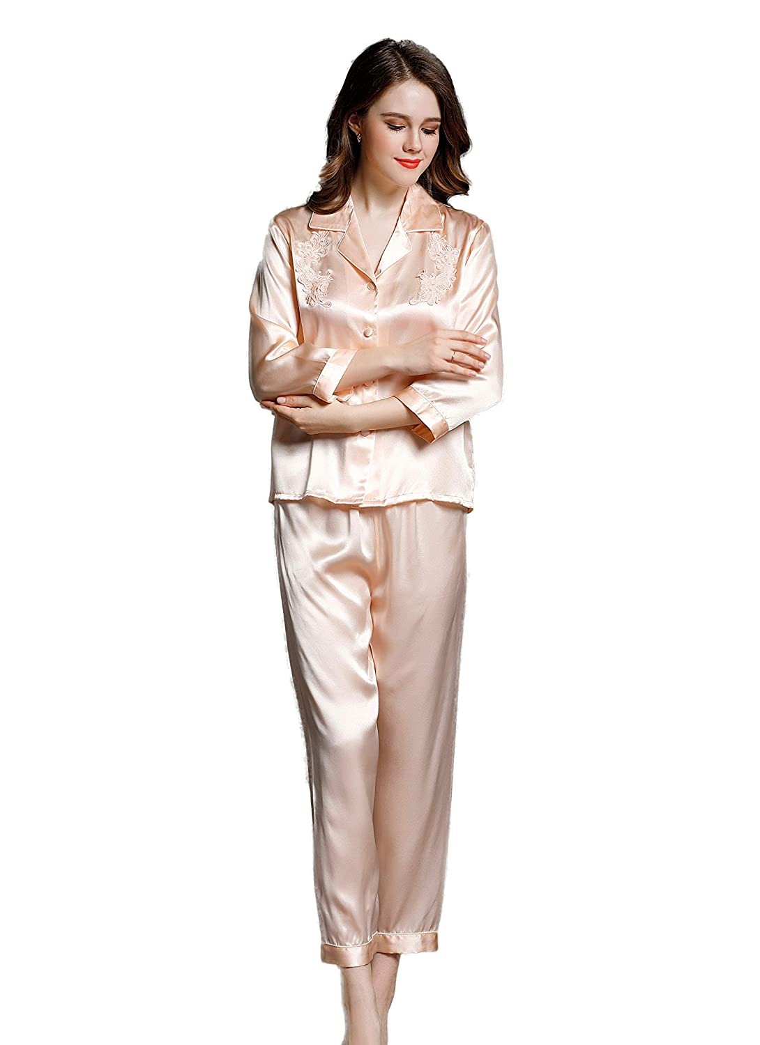 23d3d27472 CLC Women s Pure Mulberry Silk Pajama Set Sleep Sets at Amazon Women s  Clothing store