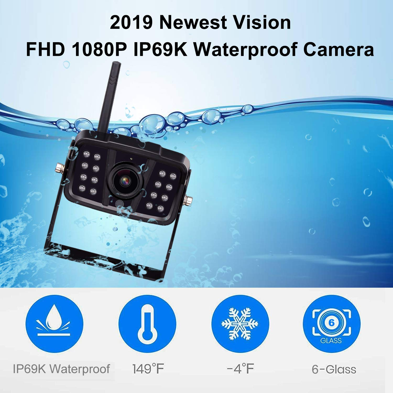 FHD 1080P Digital Wireless Backup Camera and Monitor Kit High-Speed Observation System for RVs//Motorhomes//Trucks//Trailers with 7\ Monitor Driving//Reversing Use IP69K Waterproof Super Night Vision