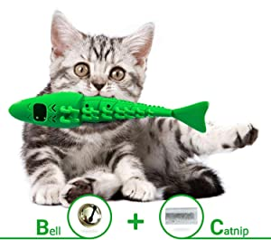 Milecan Cat Toothbrush, Cat Dental Toy Cats Lobster Toy Food Catnip Feeder Teeth Brushing Self Cleaning Toothbrush Without Toothpaste Interactive Playing Feeding Toy with Bell for Kitten Kitty