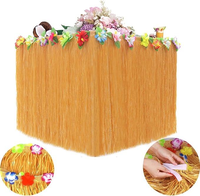 Table Jupe hawa/ïenne avec d/écoration de Fleurs dhibiscus color/ées pour Tropical Hawaii Luau Beach Party Supplies Vert