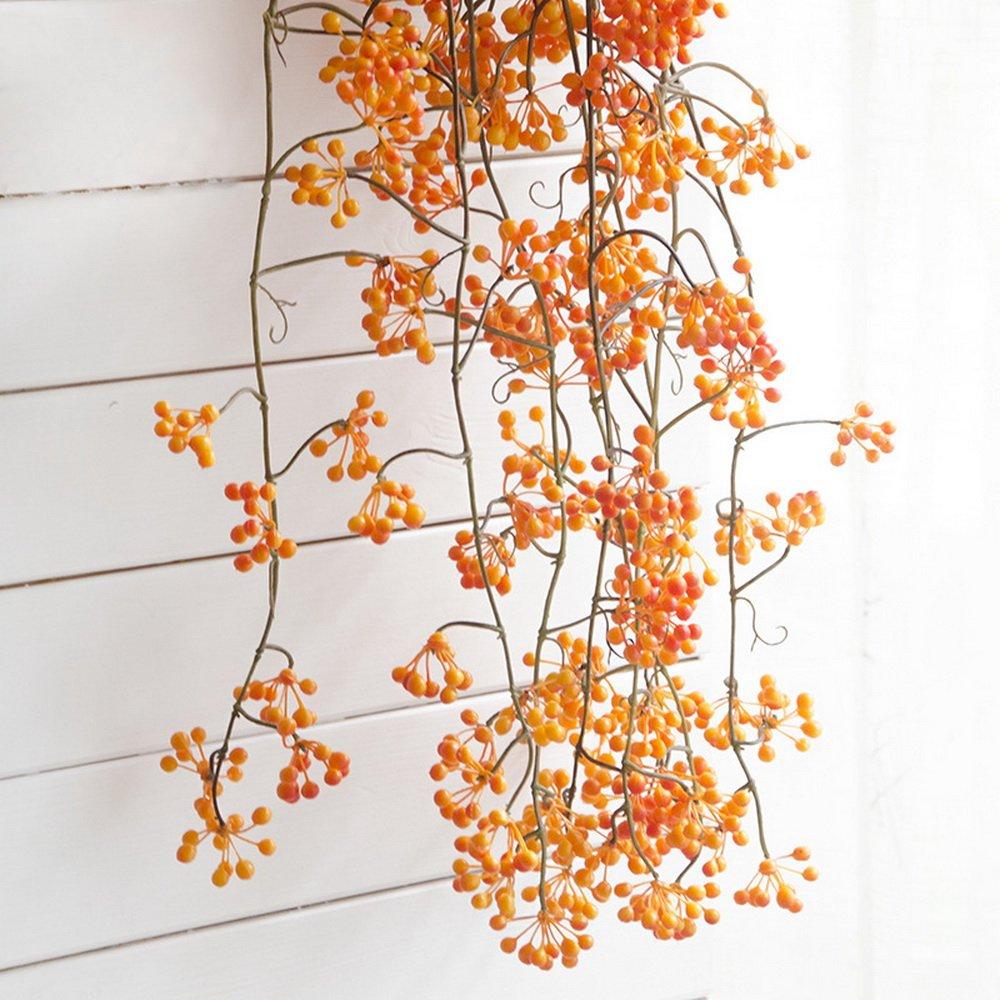 Nibesser 1 Stück Kunstblumen Kunstpflanzen Hängend Künstliche Früchte Efeugirlande Hängende Rebe für Hochzeit Party Garten Wanddekoration 88 cm