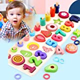 Heyean Wooden Puzzles for Toddlers, Puzzles for 3 Year Olds, Classics Alphabet Number Wooden Puzzle, Developmental Toys, Fruit Puzzle Educational Toys Learning Puzzle Toys Set