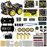 KEYESTUDIO Robot Coche Inteligente 4 WD con UNO R3, Sensor de Seguimiento de liacutenea, moacute;dulo Digital de Receptor de Infrarrojos, Sensor de ultrasonidos y moacute dulo Bluetooth para Arduino