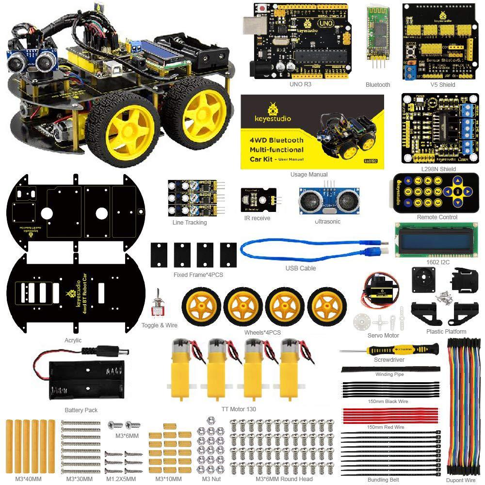 Keyestudio Smart Car Kit R3 Starter Kit w R3 Board, Line Tracking Module, Ultrasonic Sensor, blueetooth module, Tutorial etc.Intelligent and Educational Toy 4WD Car Robotic Kit for Arduino