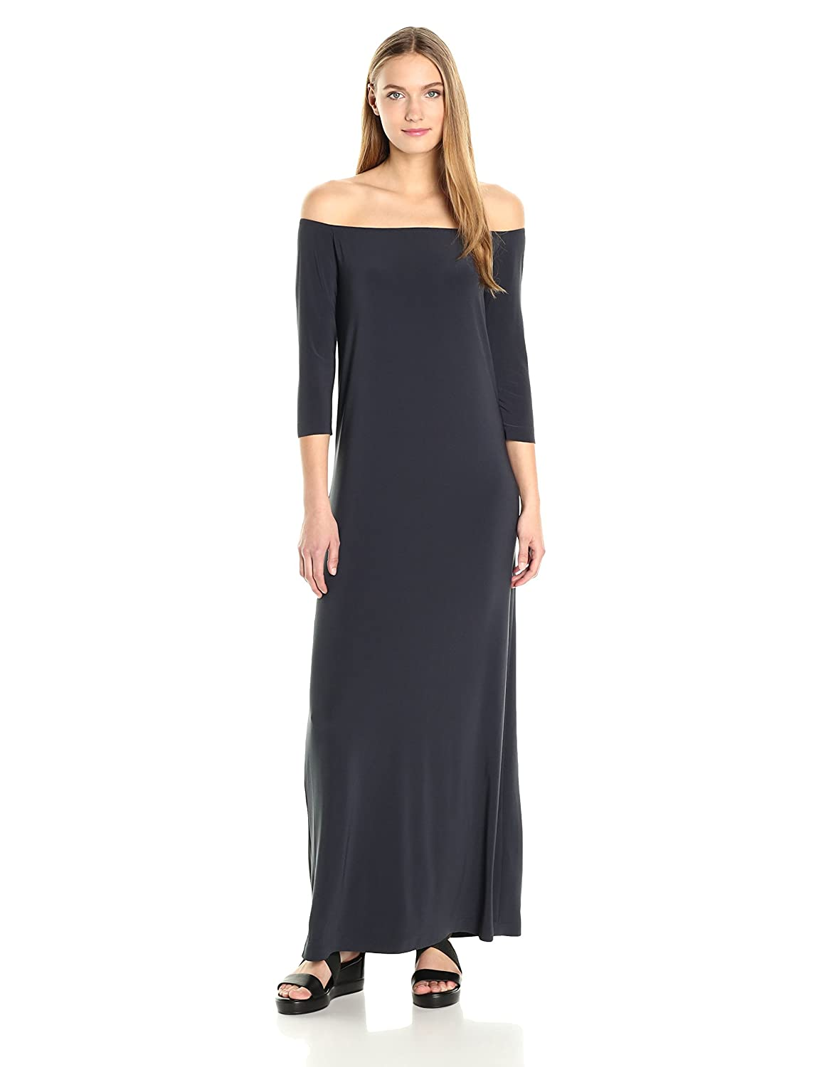 10f06bcdc4 Amazon.com  Norma Kamali Women s Off Shoulder Gown in Pewter  Clothing