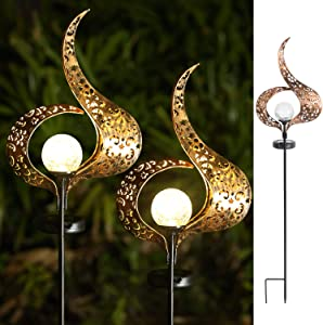Garden Solar Lights Outdoor - 2 Pack Crackle Glass Globe Waterproof Metal Decorative Stakes Lights for Lawn,Patio,Pathway,Yard (Flame)