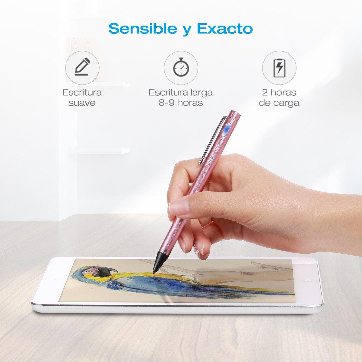 Poweradd Bolígrafo Digital para toda la Pantalla Táctil Teléfonos Inteligentes y Tabletas Color-Oro Rosa
