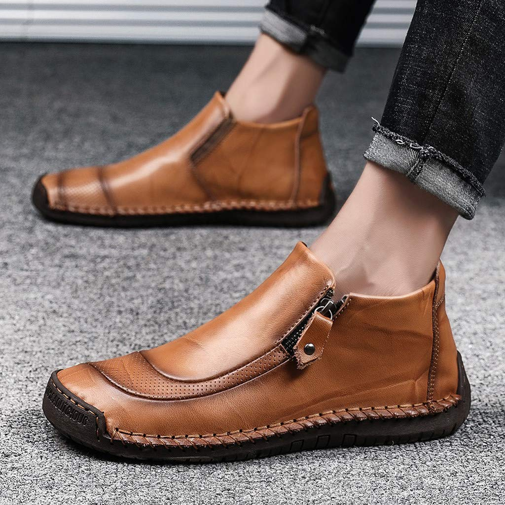 Haforever Mens Casual Boots Soft-Faced Leather Shoes for Male Fashion Outdoor Driving Work Antiskid Ankle Boot