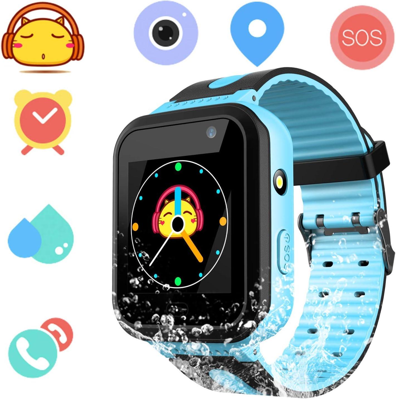 Smartwatch Impermeable para niños para niñas - IP67 Resistente al Agua para niños SmartWatch con GPS/lbs Tracker SOS Camera Anti-Juego perdido para niños y niñas (S7-Blue)