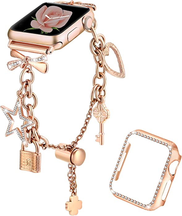 Dilando Bling Bracelet Compatible with Apple Watch Band Charms 38mm 40mm with Sparkle Diamond Case Women Metal Jewelry Strap for Iwatch SE Series 6 5 4 3 2 1 Adjustable Stainless Steel Rose Gold 38mm