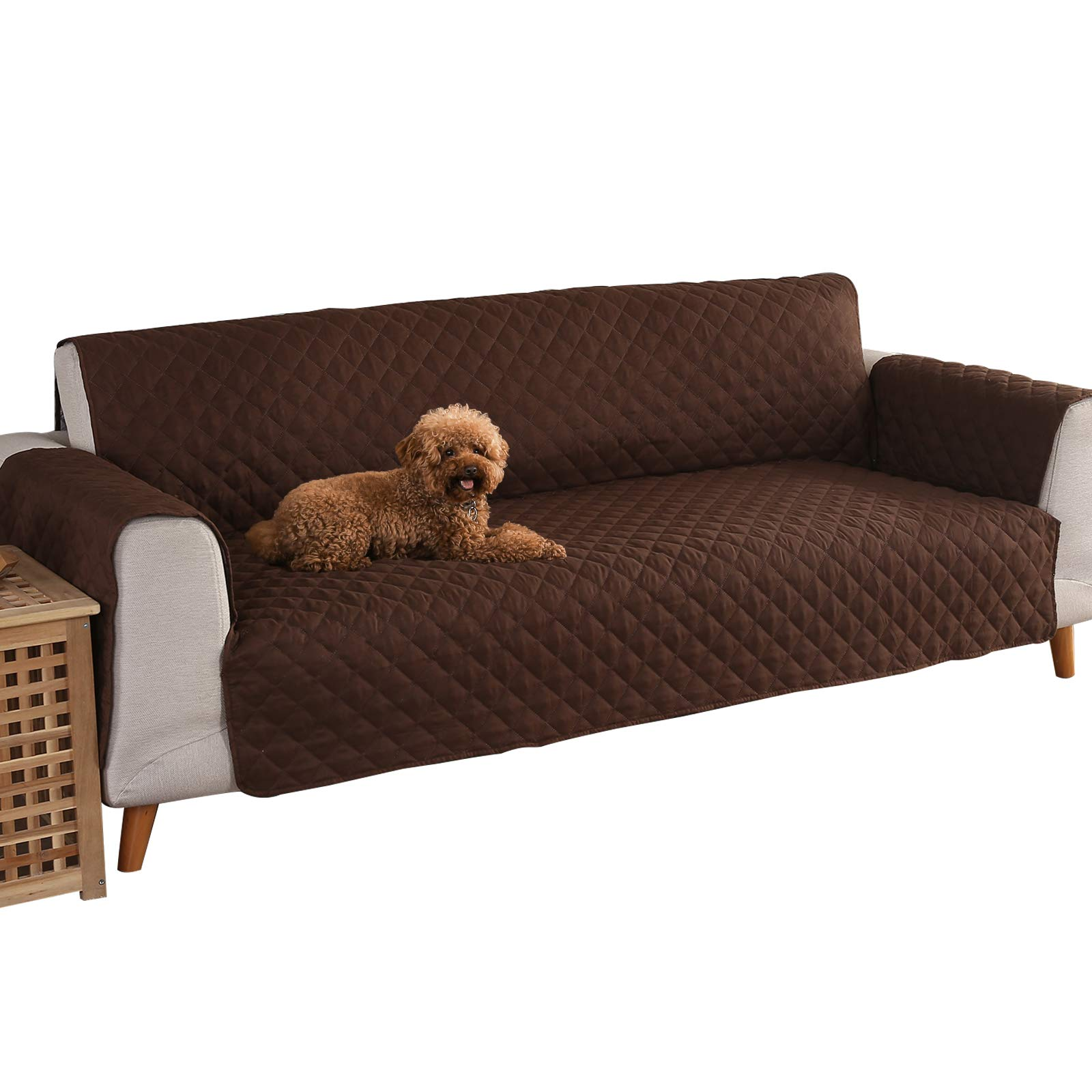 YESHOME Sofa Cover slipcovers-Quilted Upgrade Anti-slip Couch Covers-Waterproof Sofa Protector With Elastic Strap-Furniture Cover For Dogs Pet (Sofa, Brown-Gray)