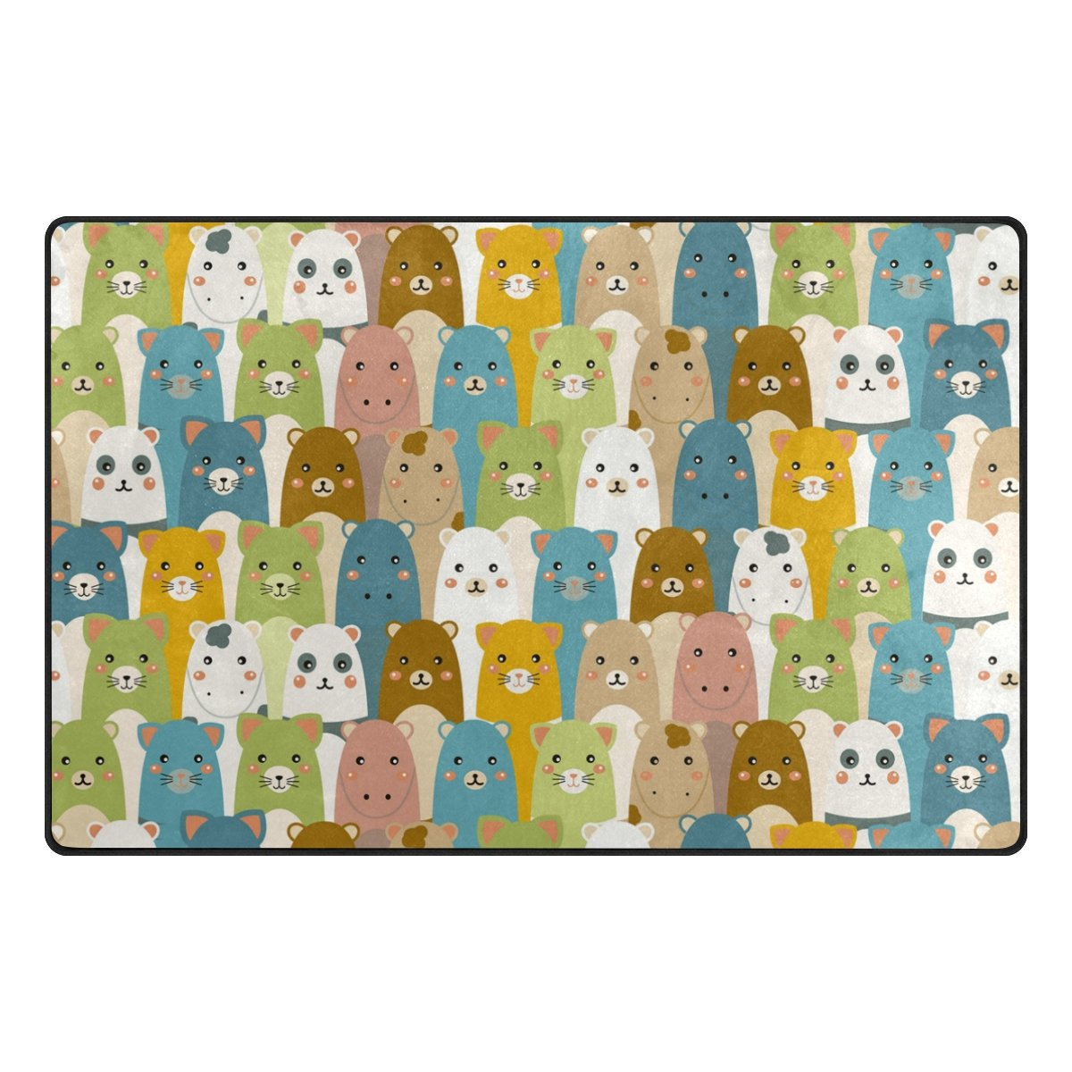 Top Carpenter Cute Animals Doodle Art Area Rug Pad - 60 x 39 inch - 100% Light Weight Polyester Fabric for Living - Bedroom