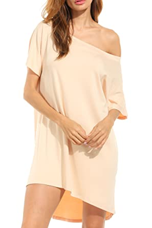 7c55619c10c0 HOTOUCH Women Causual Short Batwing Sleeve off Shoulder Loose T Shirt Dress   Amazon.co.uk  Clothing