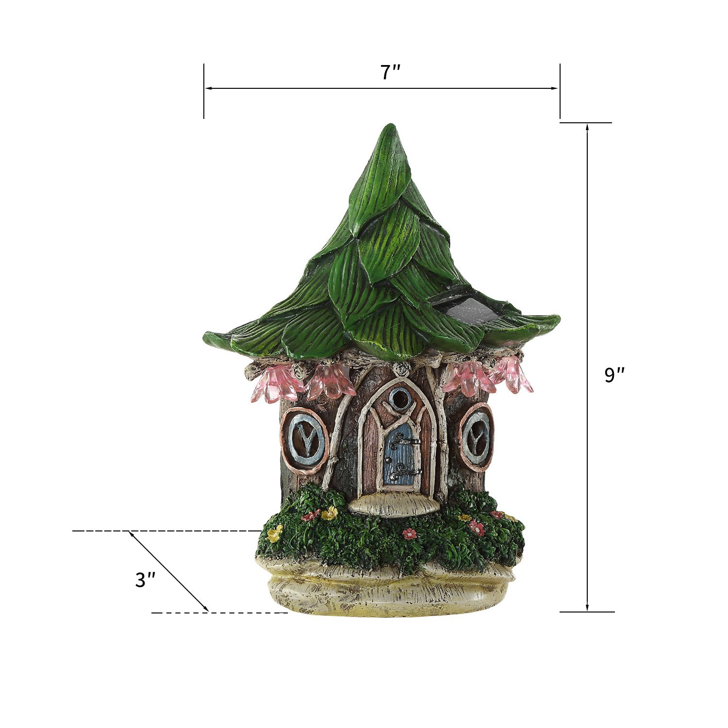 Ivy Home Solar Powered Garden Fairy Statues Tree Hanging Resin Fairy House by Ivy Home (Image #7)