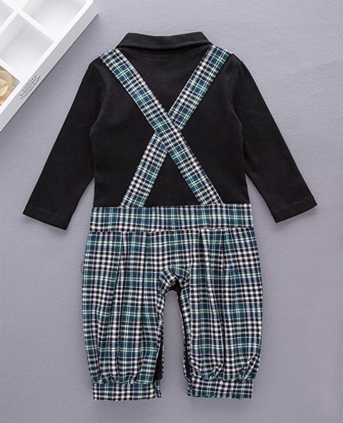 04676e98930b Amazon.com  stylesilove Chic Faux Plaid Suspender Baby Boy All-In-One Romper   Clothing