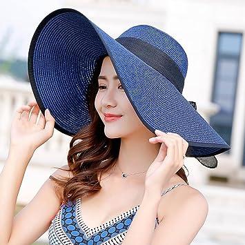 YXINY Viseras De Las Mujeres Sombrero De Paja Elegante ala Ancha Playa  Viaje Proteccion Solar Sombrero Rizado (Color   Azul)  Amazon.es  Jardín 0cfd183dbba