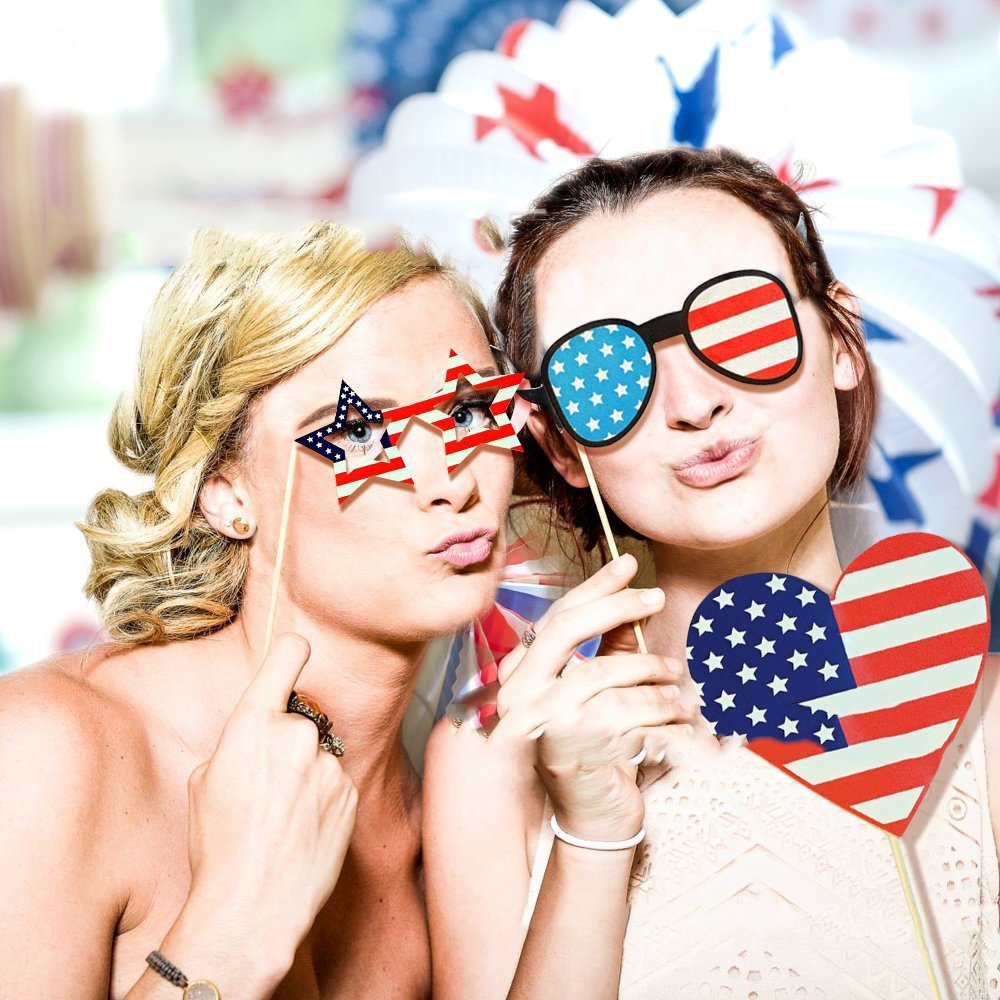Photo Booth Prop-American Independence Day 4th of July Patriotic Party Supplies Decorations, DIY Kit Party Favors for Kids and Adults(40 Packs)