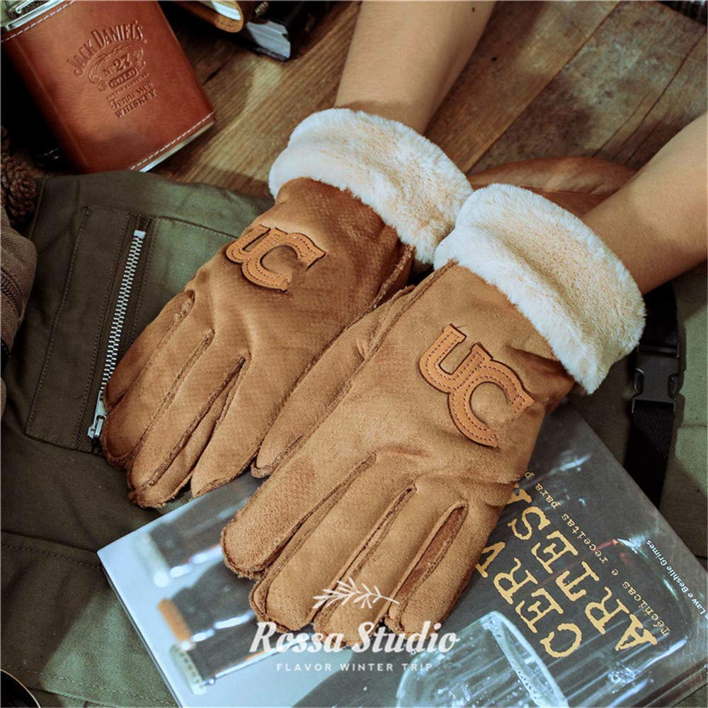 Woisha Winter Warm And Cold Riding Men Suede Thickening Plus Velvet Outdoor Riding Gloves Brown