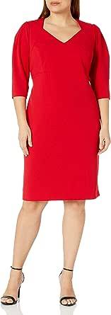 Calvin Klein Womens CX9C1G23 Plus Size Three Quarter Sleeve Sheath with Open V Neckline 3/4 Sleeve Dress