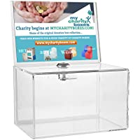 My Charity Boxes Inc. MCB - Clear Acrylic Donation Collection Box with Lock - Small - with 4-6 Display