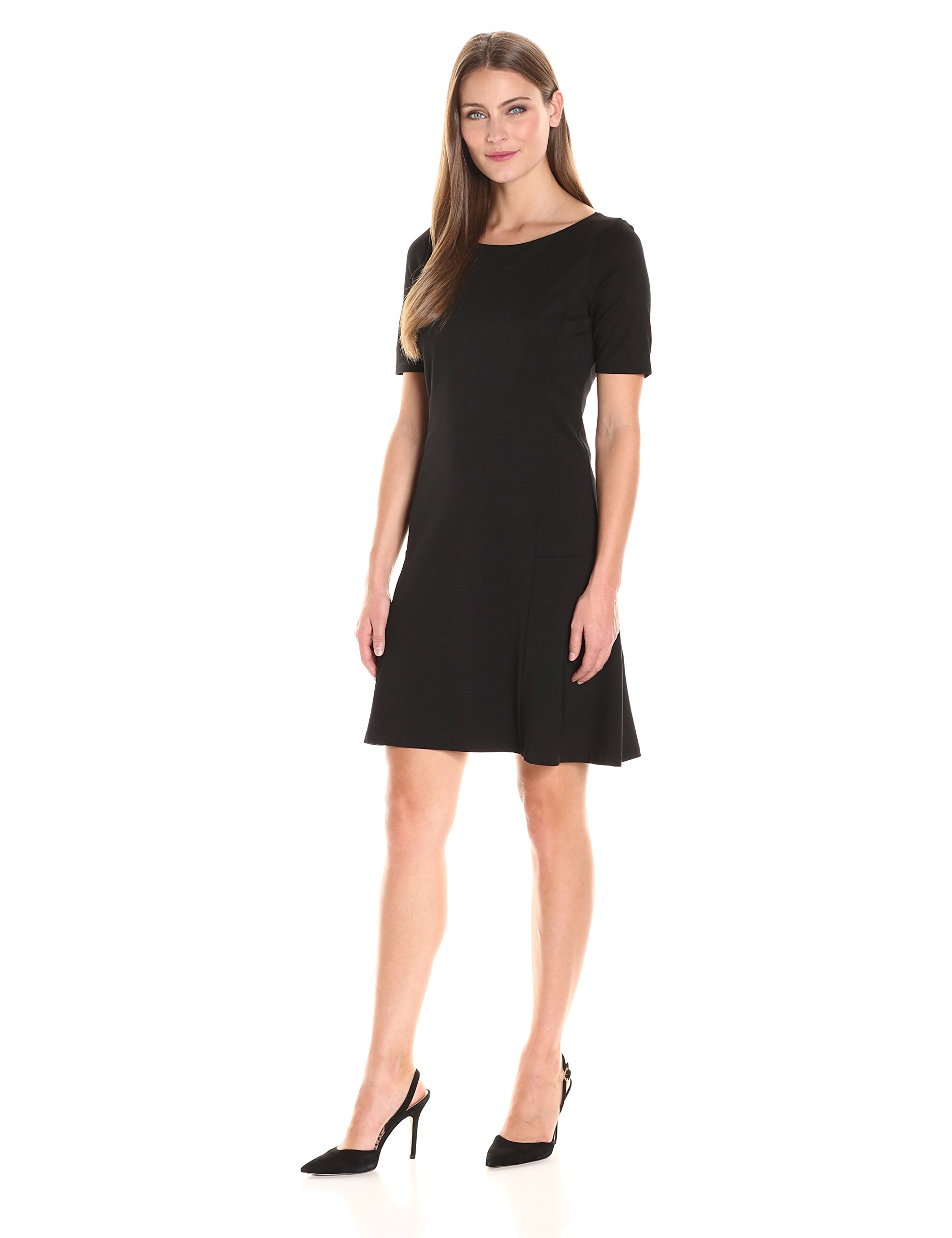 Ellen Tracy Women's Elbow Sleeve Flounce Dress, E Black, L by Ellen Tracy