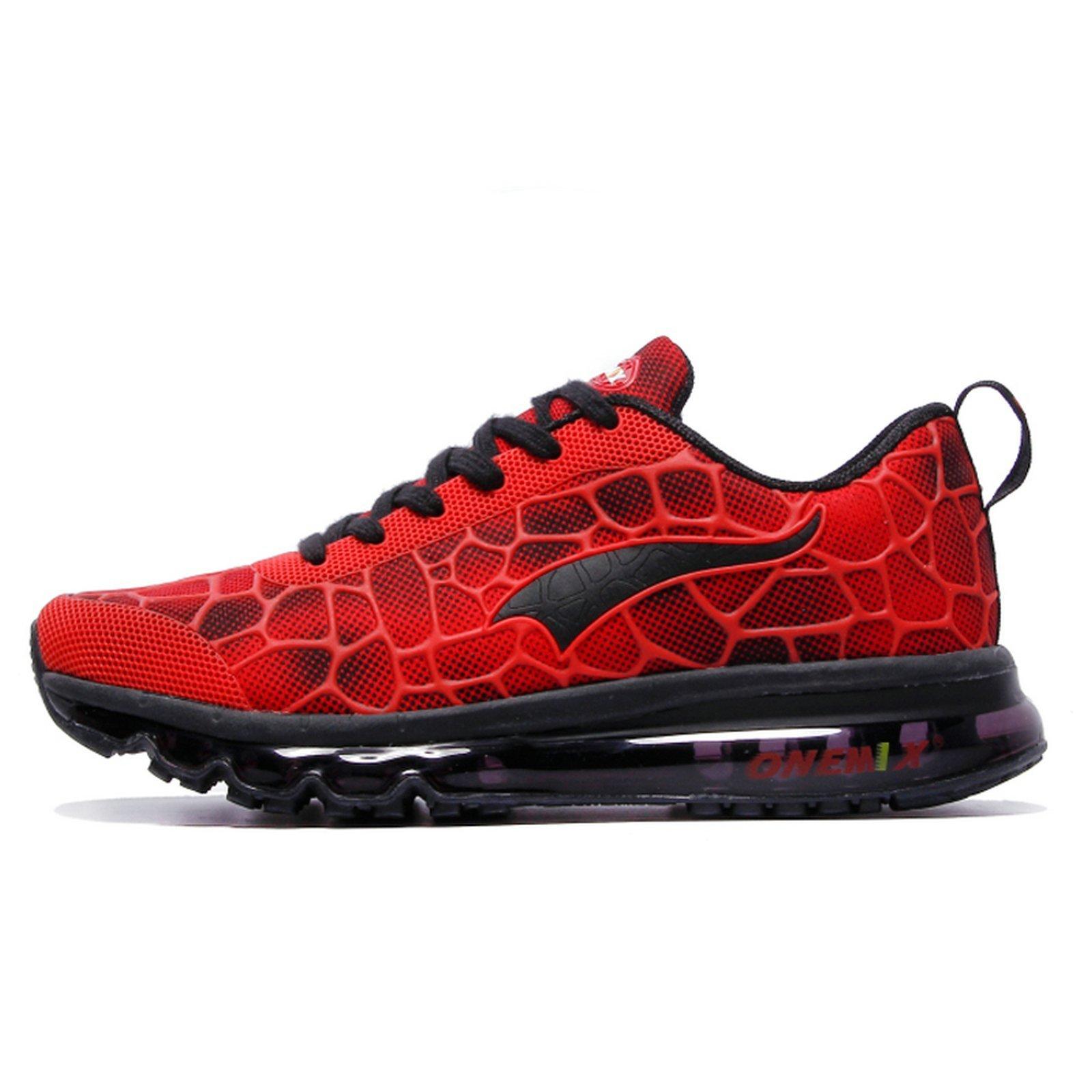 ONEMIX Men's Lightweight Air Cushion Sport Running Shoes Red Black Size 9.5