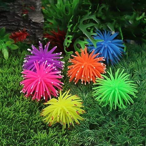 Lvcky - Juego de 4 Piezas de orquídeas Artificiales Luminosas de Silicona, para Acuario,