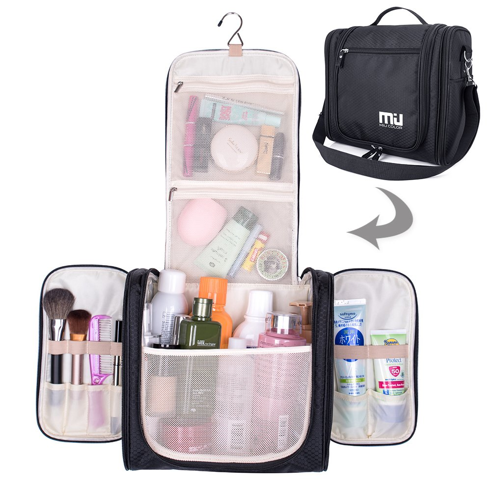 Travel Hanging Toiletry Bag, Waterproof Cosmetics Makeup Toiletry Organizer, Compact Bathroom Storage Organizer, Travel Kit Perfect For Beauty Accessories, Personal Items, Shampoo and Body Wash by MIU COLOR (Image #1)