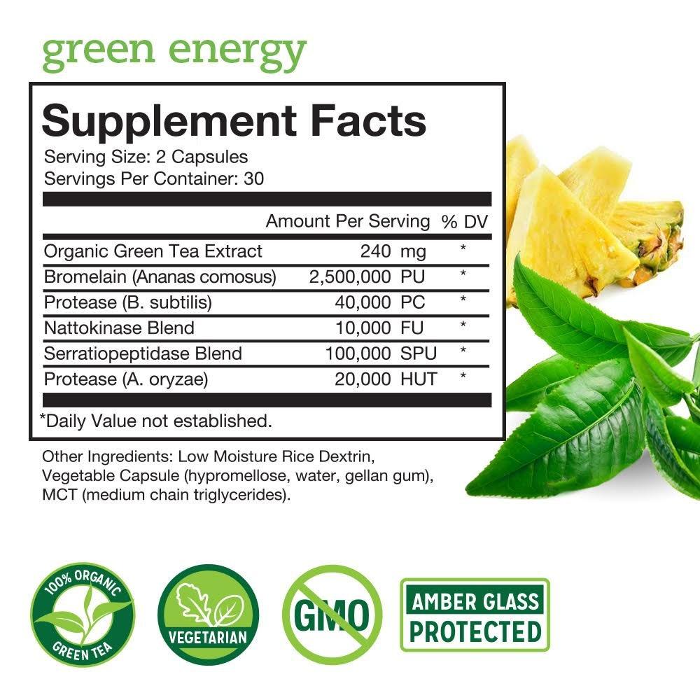 Enzimas Digestivas Proteolíticas de Alta Potencia - Energía Natural, Digestión Mejorada, Apoyo en caso de Inflamación - Té Verde Orgánico, Bromelina, ...