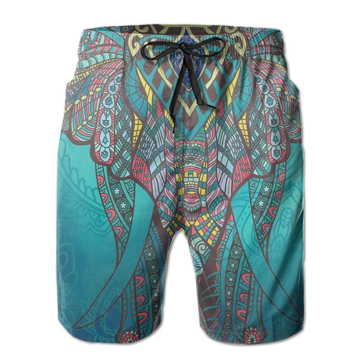 WWT Aged Colorful Elephant Walking Before Blue Cloth Mens Fashion Swim Trunks with Mesh Lining//Side Pockets