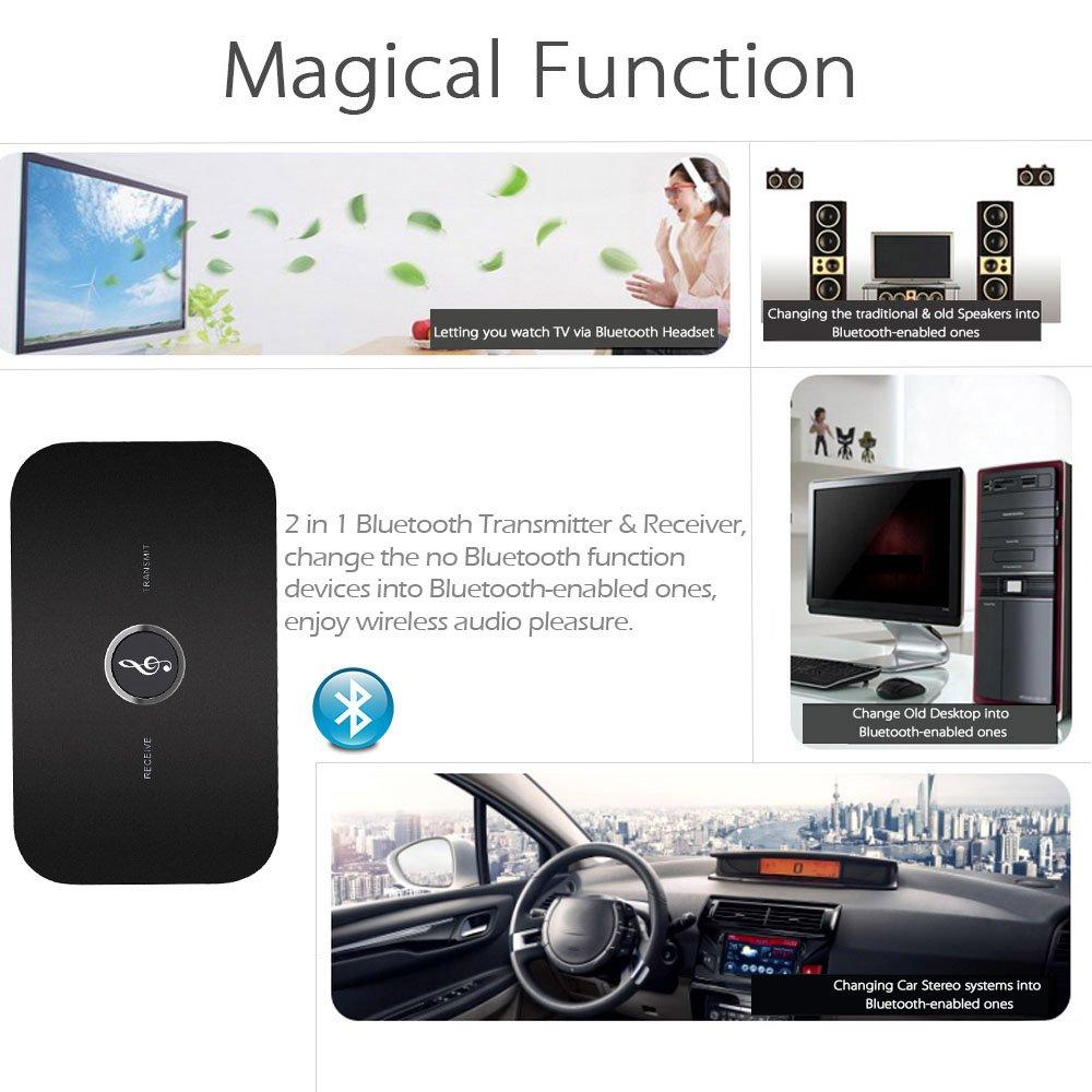 docooler B6 2 en 1 Transmisor y Receptor Bluetooth Adaptador de Audio Bluetooth Inalámbrico A2DP Reproductor de Audio Portátil Aux 3.5mm Negro: Amazon.es: ...