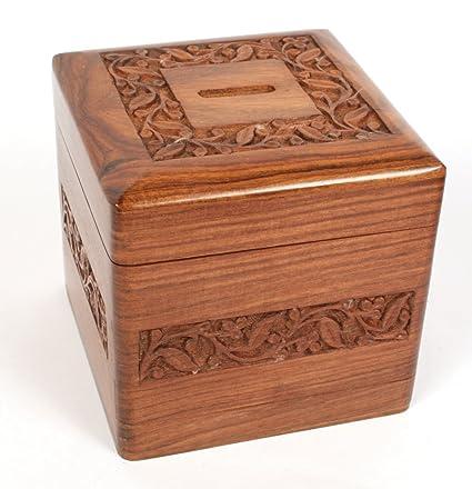 Fair Trade Wooden Money Box With Secret Lock Amazoncouk Kitchen