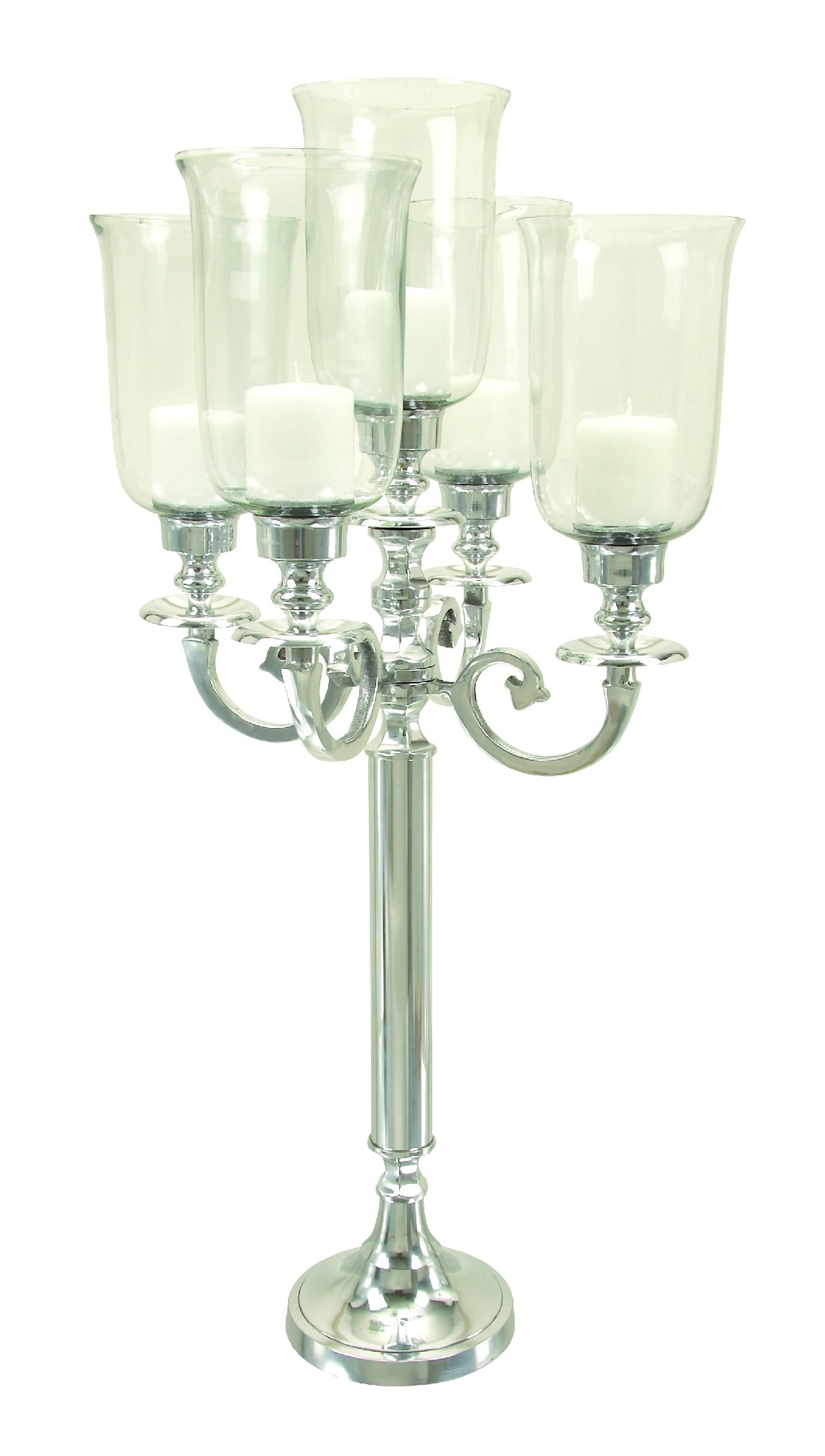 Deco 79 Aluminum Glass Candelabra, 39 by 17-Inch