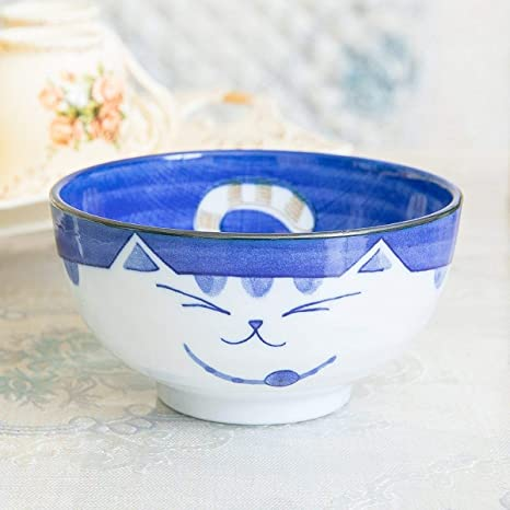 """Japanese Soup Soba Rice Bowl 6.25/""""D x 1.75/""""H Porcelain Sitting Cat Made in Japan"""
