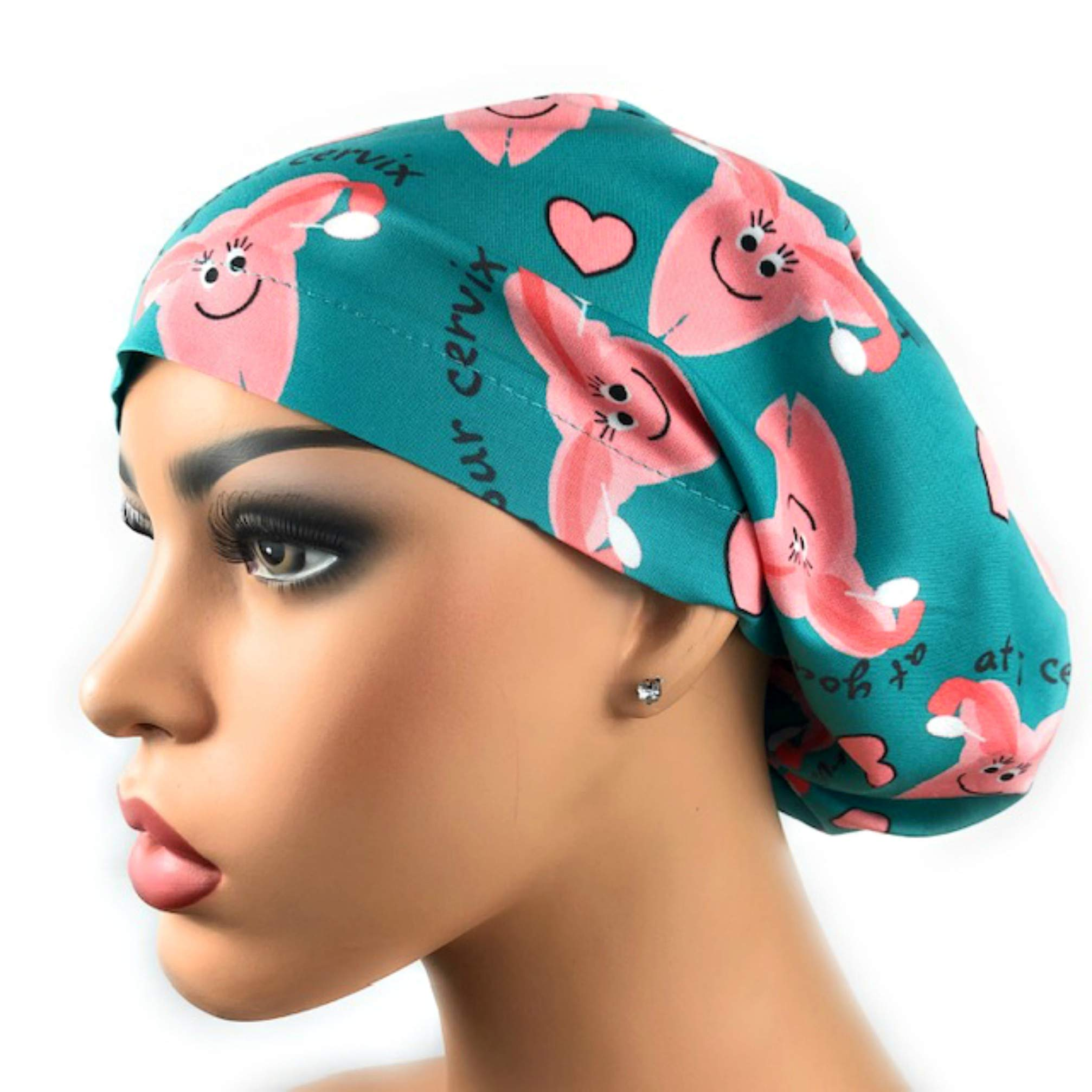 Womens Adjustable Bouffant Scrub Hat Ponytail Surgical Cap At Your Cervix by DK Scrub Hats