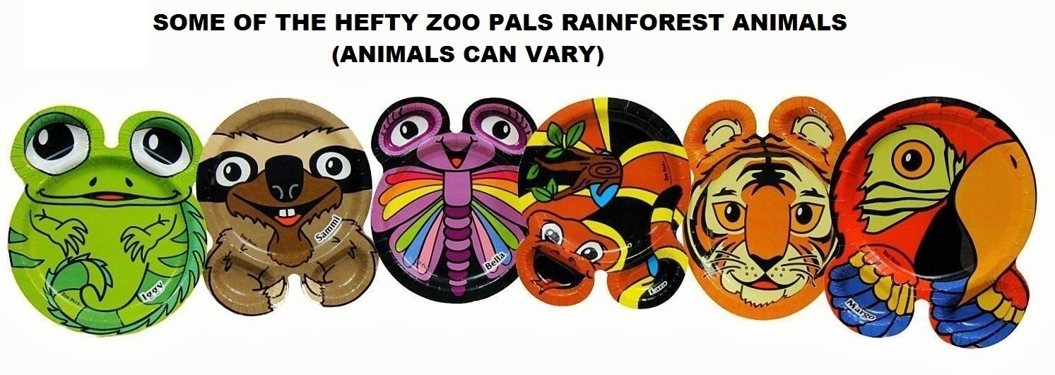 Hefty Zoo Pals Rainforest Plates 1 Package Of 20 Plates 7 37 Inch