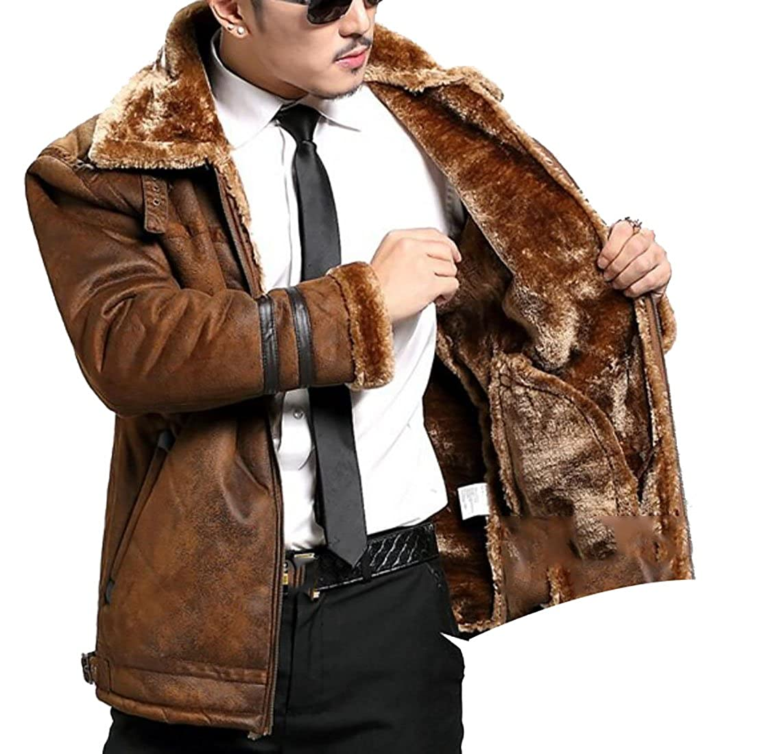 Amazon.com: artffel-men clásico Invierno Cálido Fur Lined ...