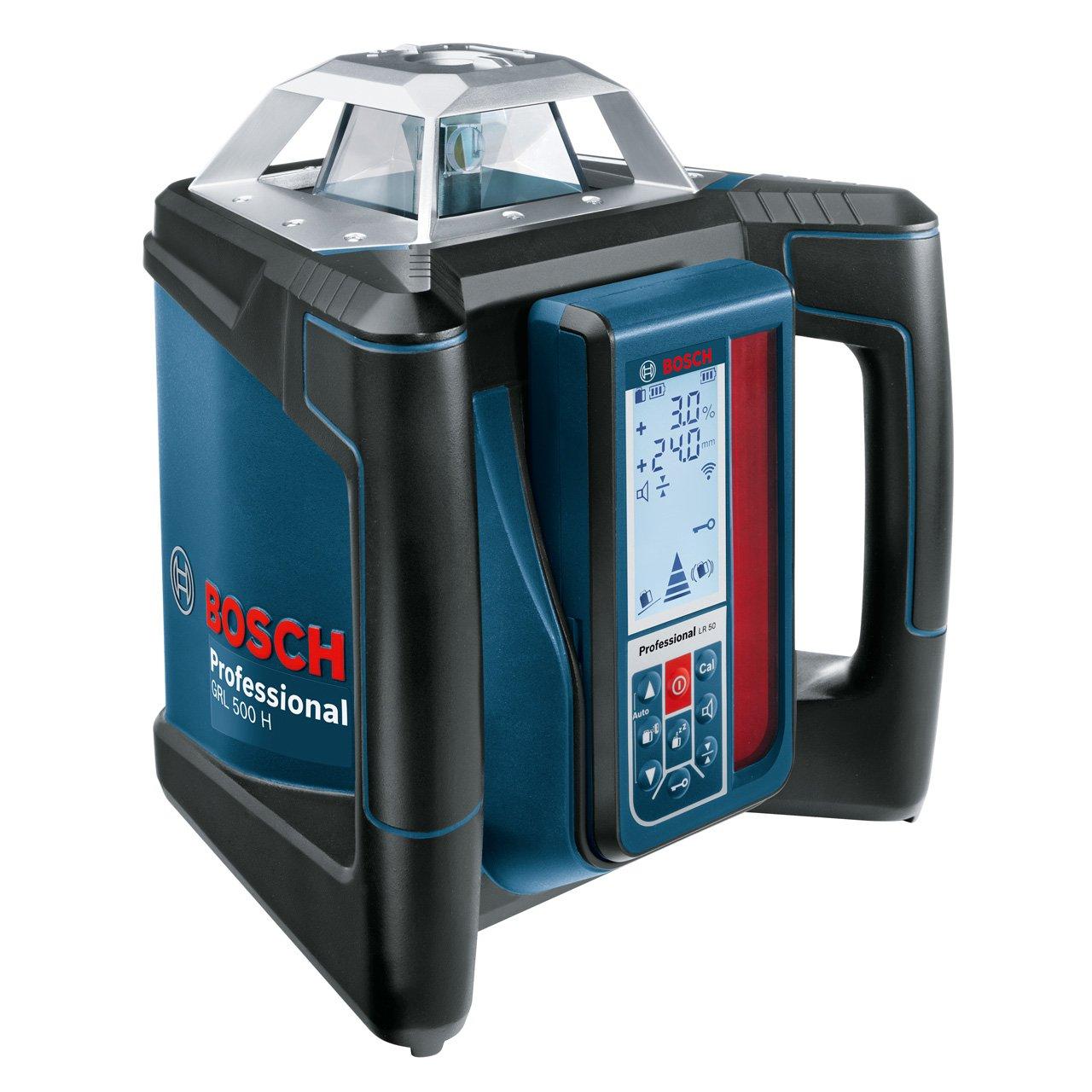 Bosch Professional GRL 500 H LR50 Nivel l/áser giratorio bater/ía de litio, alcance /Ø 500m, l/áser rojo, antirobo, receptor, malet/ín