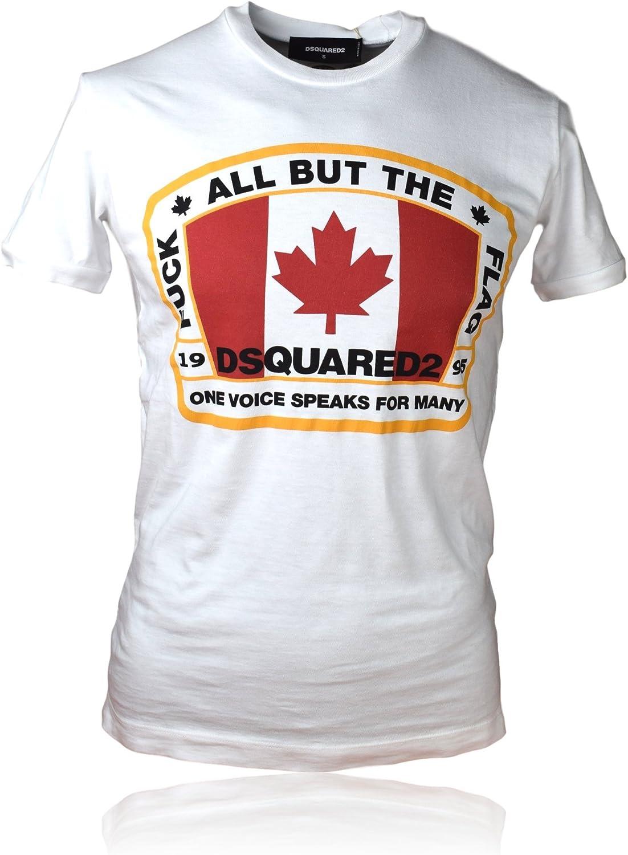DSQUARED2 Camiseta de Hombre S74GD0379 | Camisa calidab B | Fabricado en Italia (M, Blanco): Amazon.es: Ropa y accesorios