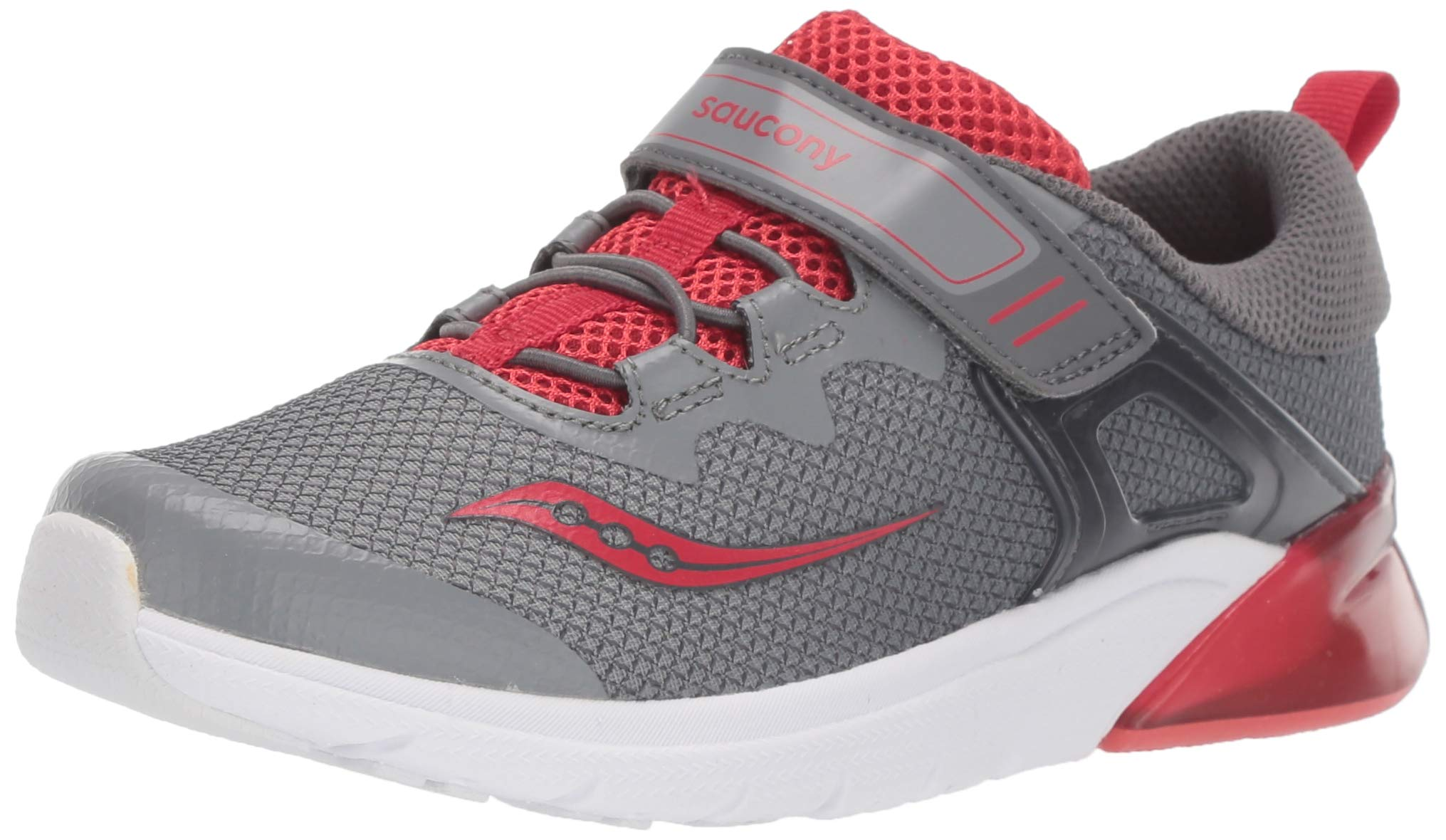 Saucony Boys' Flash Glow A/C Sneaker, Grey/Red, 2 M US Little Kid by Saucony