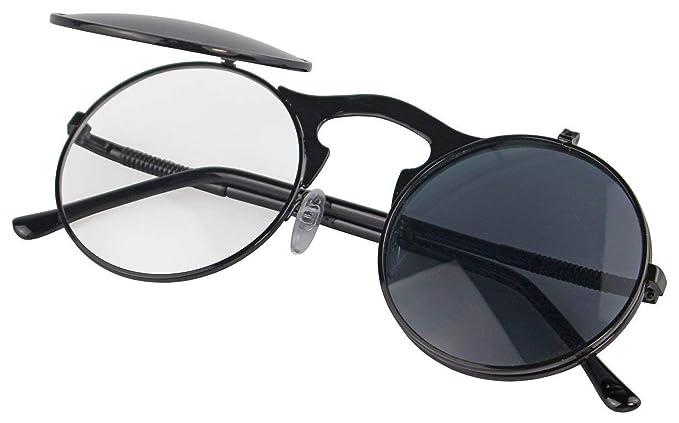 Metálico redondo gafas de sol polarizadas Voltear Ronda Lente para hombres y mujeres con protección UV400