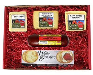 WISCONSIN CHEESE COMPANY'S - Wisconsin Big Deluxe Swiss Cheese, Sausage & Cracker Gift, A Perfect Holiday Food Gift, Cheese Gift, Gift for Family and Friends.