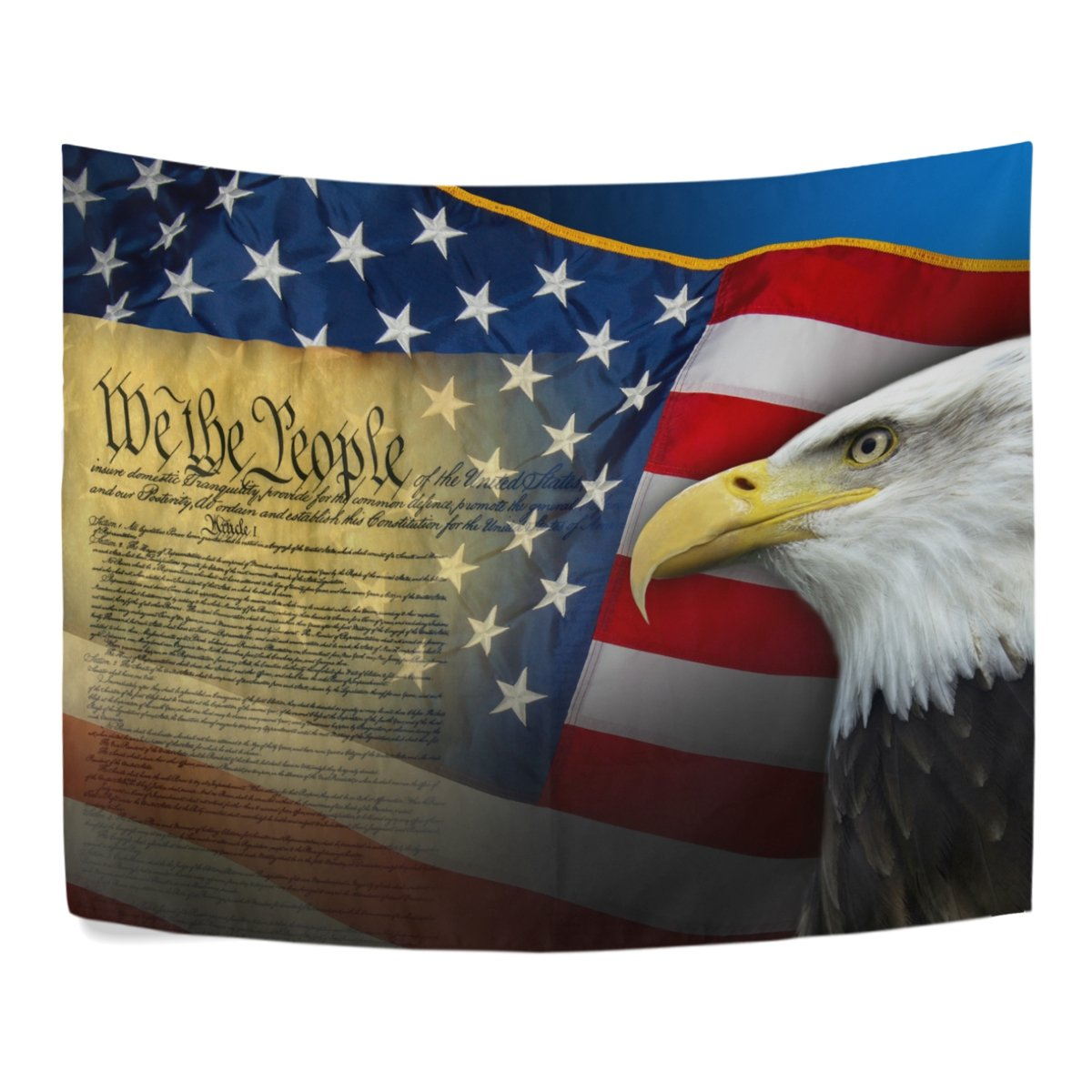 Patriotic United States of America and Eagle Polyester House Decor Wall Hangings Tapestry Wall Carpet 60x40 Inch Apartment Decor