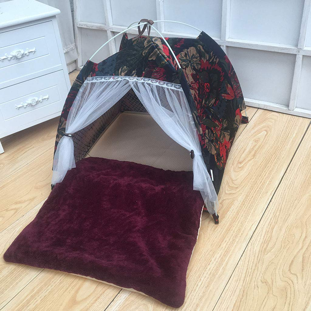 Red 60x60cm Red 60x60cm LZY pet bed- Cat Litter Kennel Folding Tent Washable Pet Supplies (color   Red, Size   60x60cm)