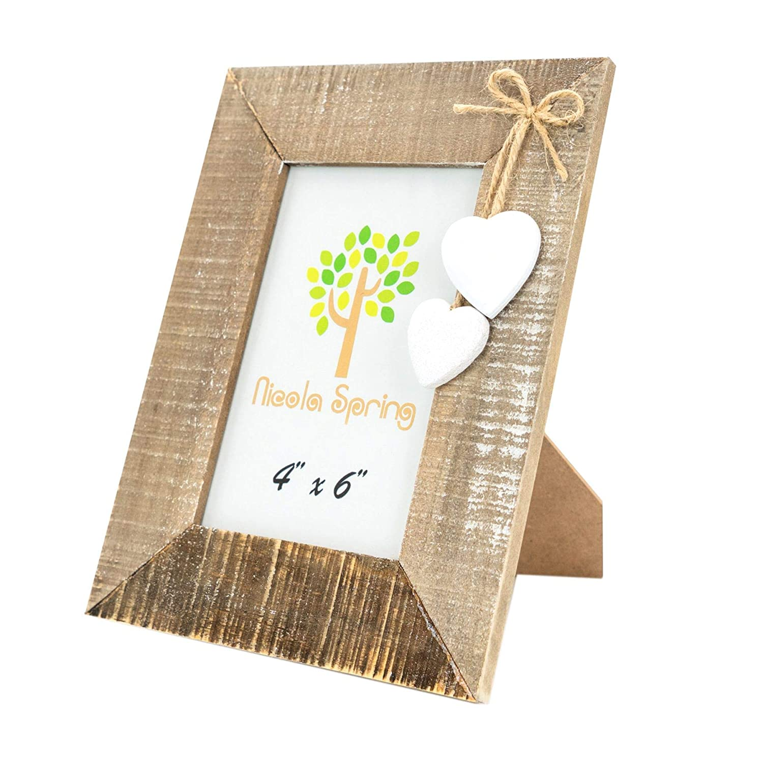 White Heart Hanging Photo Frame Shabby Chic 2 Heart Detail 3 x 3 Picture