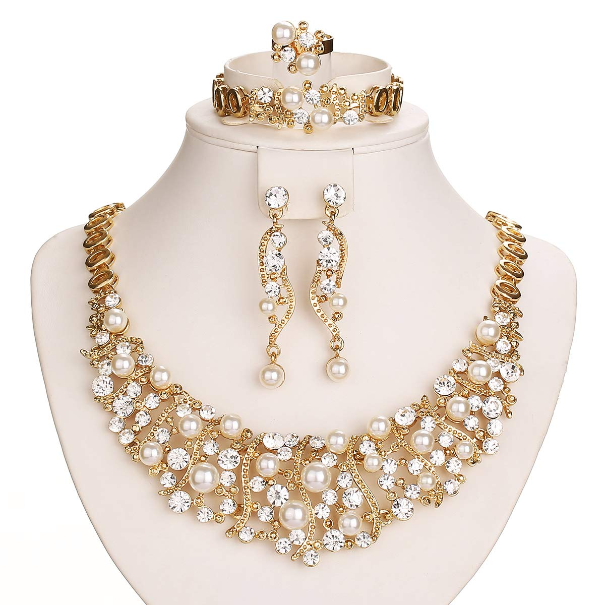 Gold Plated Luxury Crystal and Simulated-Pearl Beads Necklaces Jewelry Set 5 Pieces