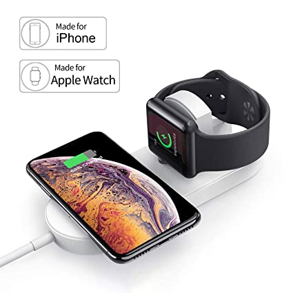 TOGOO Magnetic Wireless Charger for Apple Watch, 2 in 1 Charging Pad Stand Compatible for with for iPhone Xs/XS MAX/XR/X/ 8/ Plus/iWatch Series 3/2 ...