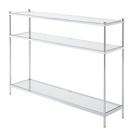 Convenience Concepts Royal Crest Collection Console Table, Chrome/Glass