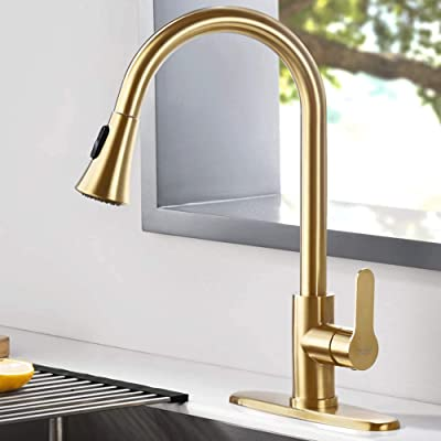 Buy Amazing Force Gold Kitchen Faucet Modern Pull Out Kitchen Faucets Stainless Steel Single Handle Kitchen Sink Faucet With Pull Down Sprayer 3 Hole Kitchen Faucet Mixer Tap Online In Turkey B08353h8vx